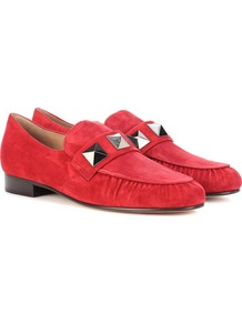 Garavani Suede Loafers - predominant colour: true red; occasions: casual; material: suede; heel height: flat; embellishment: studs; toe: round toe; style: loafers; finish: plain; pattern: plain; wardrobe: highlight; season: s/s 2017