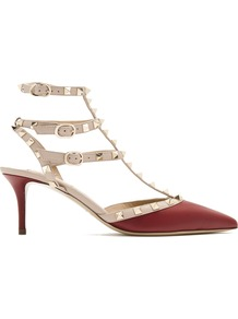 Rockstud Leather Pumps - predominant colour: burgundy; secondary colour: stone; occasions: evening, creative work; material: leather; heel height: mid; embellishment: studs; ankle detail: ankle strap; heel: stiletto; toe: pointed toe; style: courts; finish: plain; pattern: colourblock; wardrobe: highlight; season: s/s 2017