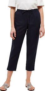 Linen Drawstring Trouser - pattern: plain; style: peg leg; waist: high rise; waist detail: belted waist/tie at waist/drawstring; predominant colour: black; occasions: casual, creative work; length: calf length; fibres: linen - 100%; texture group: linen; fit: tapered; pattern type: fabric; pattern size: standard (bottom); wardrobe: basic; season: s/s 2017