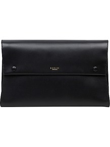 Blackheath Leather Large Clutch Bag, Black - predominant colour: black; occasions: evening, occasion; type of pattern: standard; style: clutch; length: hand carry; size: standard; material: leather; pattern: plain; finish: plain; wardrobe: event; season: s/s 2017