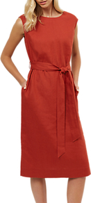 Linen Belted Midi Dress, Red - style: shift; length: below the knee; neckline: round neck; pattern: plain; sleeve style: sleeveless; waist detail: belted waist/tie at waist/drawstring; predominant colour: true red; occasions: casual, creative work; fit: straight cut; fibres: linen - 100%; sleeve length: sleeveless; texture group: linen; pattern type: fabric; wardrobe: highlight; season: s/s 2017