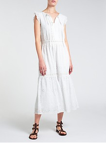 Embroidered Maxi Dress, Ivory - length: calf length; neckline: v-neck; sleeve style: capped; fit: loose; pattern: plain; style: sundress; predominant colour: white; occasions: casual, holiday; fibres: polyester/polyamide - 100%; sleeve length: sleeveless; texture group: cotton feel fabrics; pattern type: fabric; embellishment: lace; wardrobe: highlight; season: s/s 2017; embellishment location: trim