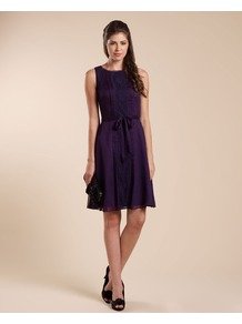 Leandra Lace Insert Dress - style: a-line; neckline: round neck; pattern: plain; sleeve style: sleeveless; waist detail: belted waist/tie at waist/drawstring; predominant colour: purple; occasions: evening, occasion; length: just above the knee; fit: body skimming; fibres: polyester/polyamide - 100%; hip detail: soft pleats at hip/draping at hip/flared at hip; sleeve length: sleeveless; trends: deep tones; texture group: sheer fabrics/chiffon/organza etc.; pattern type: fabric; pattern size: standard; season: a/w 2012