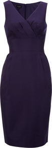 Lismore Dress, Purple - style: shift; neckline: v-neck; fit: fitted at waist; pattern: plain; sleeve style: sleeveless; waist detail: fitted waist, wide waistband/cummerbund; hip detail: fitted at hip; bust detail: ruching/gathering/draping/layers/pintuck pleats at bust; predominant colour: aubergine; occasions: evening, work, occasion; length: on the knee; fibres: wool - mix; sleeve length: sleeveless; trends: deep tones; texture group: crepes; pattern type: fabric; pattern size: standard; season: a/w 2012