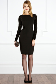 Jovanna Dress - style: shift; fit: tailored/fitted; pattern: plain, animal print; waist detail: fitted waist; hip detail: fitted at hip; predominant colour: black; occasions: evening, occasion; length: just above the knee; fibres: polyester/polyamide - 100%; neckline: crew; sleeve length: long sleeve; sleeve style: standard; pattern type: fabric; pattern size: standard; texture group: jersey - stretchy/drapey; season: a/w 2012