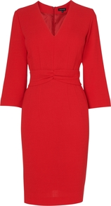 Gathered Front Crepe Dress, Red - style: shift; neckline: v-neck; fit: fitted at waist; pattern: plain; waist detail: fitted waist, twist front waist detail/nipped in at waist on one side/soft pleats/draping/ruching/gathering waist detail; predominant colour: true red; occasions: evening, work, occasion; length: on the knee; fibres: wool - mix; sleeve length: 3/4 length; sleeve style: standard; trends: deep tones, waist-cinchers, pure tailoring; pattern type: fabric; pattern size: standard; texture group: jersey - stretchy/drapey; season: a/w 2012