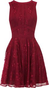 Women's Gothic Lace Dress, Purple - length: mid thigh; neckline: round neck; sleeve style: sleeveless; waist detail: fitted waist; back detail: low cut/open back; predominant colour: burgundy; occasions: evening, occasion; fit: fitted at waist & bust; style: fit & flare; fibres: viscose/rayon - 100%; hip detail: soft pleats at hip/draping at hip/flared at hip; sleeve length: sleeveless; trends: deep tones, waist-cinchers; texture group: lace; pattern type: fabric; pattern size: standard; pattern: patterned/print; season: a/w 2012