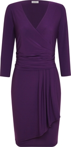 Emaline Dress, Bright Purple - style: faux wrap/wrap; neckline: v-neck; pattern: plain; waist detail: fitted waist; predominant colour: purple; occasions: casual, evening, work, occasion; length: just above the knee; fit: fitted at waist & bust; fibres: polyester/polyamide - stretch; hip detail: ruching/gathering at hip, soft pleats at hip/draping at hip/flared at hip; sleeve length: 3/4 length; sleeve style: standard; trends: deep tones, waist-cinchers; texture group: silky - light; pattern type: fabric; pattern size: standard; season: a/w 2012