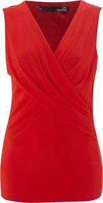 Sleeveless Cross Over Wrap Top, Red - neckline: v-neck; pattern: plain; sleeve style: sleeveless; style: wrap/faux wrap; bust detail: ruching/gathering/draping/layers/pintuck pleats at bust; predominant colour: true red; occasions: casual, evening, work; length: standard; fibres: viscose/rayon - stretch; fit: body skimming; sleeve length: sleeveless; pattern type: fabric; texture group: jersey - stretchy/drapey; season: a/w 2012